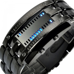 Fashion Creative Watches Men Luxury Brand Digital LED Display 50M Waterproof Lover's Wristwatches black