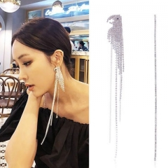 Korea Trendy Asymmetry Parrot Super Long Tassel Crystal Rhinestone Zircon Drop Earrings for Girl a one size