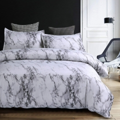 Modern 3 Piece Bedding Duvet Cover Set White Marble Duvet Cover Set Hypoallergenic a picture 228*228 as picture 228*228