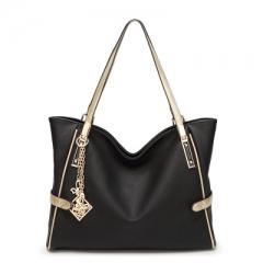 Female bag shoulder bag contracted fashion lady handbags big female bag bag pendant Women Bag black KJ
