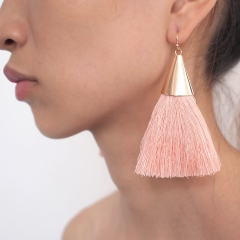 Fashion Jewelry Boho Tassel Earrings Women Brightness Gold Color Alloy Wide Fringed Drop Earrings pink one size