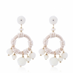 The new creative earrings Bohemia national wind eardrop of hand-woven fashion temperament white one size