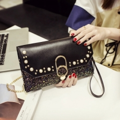 The new 2018 han edition personality fashion handbag shoulder his handbag Women Bag black JK