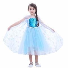 snow and ice princess dress dress bitter fleabane bitter fleabane gauze dress female children's wear blue 100