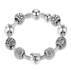 Antique Silver Charm Bracelet with Love Flower Beads Women Wedding Jewelry,Set auger alloy bracelet white 18cm