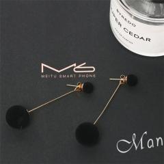 Plush Ball Drop Earrings For Women Korea personality Round Long Tassel Earrings Statement Jewelry black one size