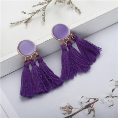 Tassel Earrings Gold Color Round Drop Earrings for Women Wedding Long Fringed Earrings Jewelry 1 one size