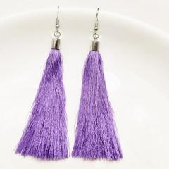 Vintage Tassel Earrings Women Fashion Brand Jewelry Geometric Silver Color Simple Dangle Earrings light purple one size