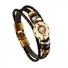 Bronze Alloy Buckles Zodiac Signs Bracelet Punk Leather Bracelet Hematite Lover Charm Jewelry 1 one size