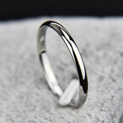 Titanium Steel Rose Gold Anti-allergy Smooth Simple Wedding Couples Rings Bijouterie silvery 4