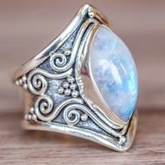 Vintage Silver Big Stone Ring for Women Fashion Bohemian Boho Jewelry 2018 New Hot 1 6