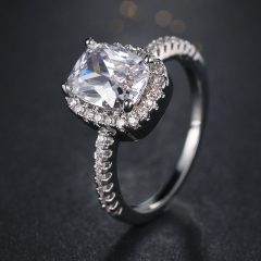 Fashion Rings Show Elegant Temperament Jewelry Womens Girls White Silver Filled Wedding Ring silver 6