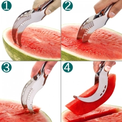 Stainless Steel Watermelon Slicer Cutter Knife Corer Fruit Vegetable Tools Kitchen Gadgets silver a