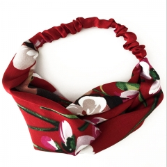 Women Girls Summer Bohemian Hair Bands Print Headbands Retro Cross Turban Bandage Bandanas HairBands 1 a