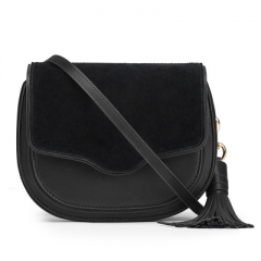 2018 fashion fringed women's single shoulder bag ,Women Leisure Genuine Leather Saddle Bag black one size
