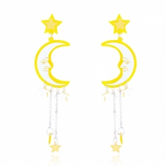 Stud Earrings personality temperament earrings female creative moon stars long earrings yellow yellow one size