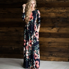 Summer Long Dress Floral Print Boho Beach Dress Tunic Maxi Dress Women Evening Party Dress Sund color   1 s