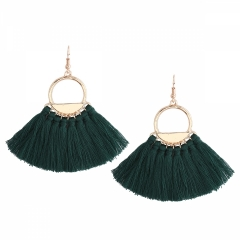 New fashion brand fan tassel earrings female high-grade personality eardrop popular adorn article green one size