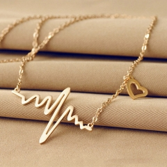 Ecg Necklace Love Shaped Titanium Steel Heartbeat Lockbone Chain Heart Pendant Necklace Female silver one size
