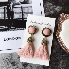 Women Fashion Jewelry Vintage Velvet Ball Statement Fringed Drop Earring Female Jewellery ,Ear Studs 2 a
