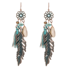 Antique Vintage Bohemian Ethnic Tassel Fringe Leaf Stones Earrings Girls Jewelry,Ear Studs blue a