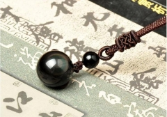 Natural Obsidian Rainbow Eye Transfer Good Luck Bead Pendant Necklace Polyester Rope Chain Necklace 1 14cm