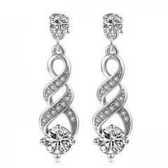 European and American fashionable Earrings lady fashion crystal gold-plated earrings silver a