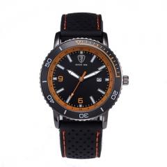 Men's fashion quartz watch, sports fashion watches, leather strap, wrist watch students balck