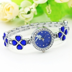 New clovers point drill steel with ladies watch, bracelet watch gift table accessories female table Dark blue a