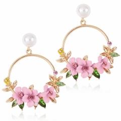 Han edition style color earrings set auger lace Joker alloy with pearls women stud earrings earrings pink one size