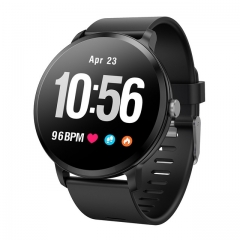 V11 Smart watch IP67 waterproof Tempered glass Activity Fitness tracker Heart rate monitor BRIM black