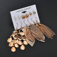 New Earrings 6 Pairs Pearl Stud Earrings Kit Hollow Out Leaf Woven Eardrop Women's Jewellery As Picture a