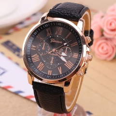 Geneva Watches Women Casual Roman Numeral Watch Leather Band Quartz Wrist Watch relogio Clock black