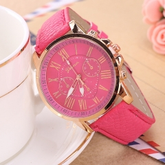 Geneva Watches Women Casual Roman Numeral Watch Leather Band Quartz Wrist Watch relogio Clock rose