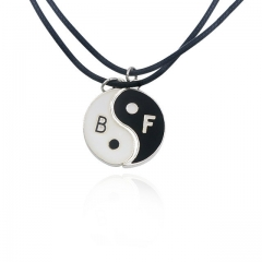 Necklace Yin Yang Tai Chi Pendant Couples Paired Necklaces&Pendants Unisex Lovers Valentine's black a