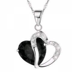 New Europe and America love heart necklace female amethyst short diamond studded sexy clavicle chain black a