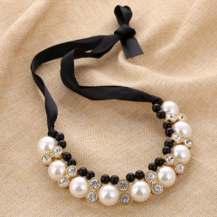 Black Ribbon Lace Double Row Pearl Diamond Korean Ornament Adjustable Length Short Chain Necklace black a