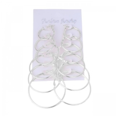 New Korean version of the ear ring set of 6 personalized personality ring earrings silver a