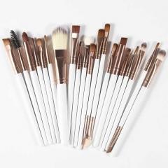 20Pcs Professional Makeup Brushes Set Powder Foundation Eyeshadow Make Up Brushes Cosmetics Soft Coffee and White