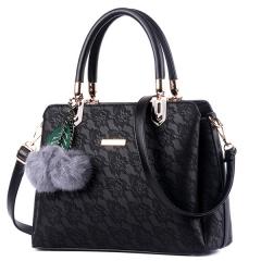 Women Fur Handbags Printing Women Bags Women PU Leather Shoulder bags Messenger Bags Tote Bag black one size
