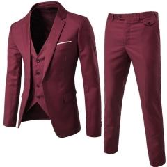 Three piece set Luxury Men Wedding Suit Male Blazers Slim Fit Suits For Men Costume Business red S