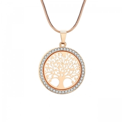 Tree of Life Small Round Glass Pendant Necklace Gold Silver Colors bijoux jewelry Gift  Women gold a
