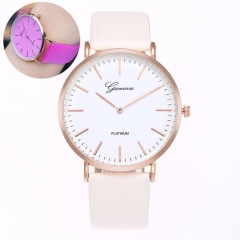 Fashion Simple Style Temperature Change Color Women Watch Sun UV Color Change Quartz Wristwatches rose