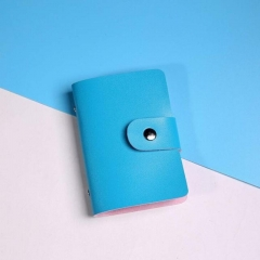 High quality leather wallet  business cards Card holder Portfolio Pack of business cards handbags blue one size