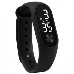 Fashion men and Women casual Sports Wrist Watches Silicone Electronic Candy color LED Digital Watch black
