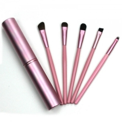 5 pieces Mini Portable Travel Makeup Brushes Eye Shadow Eyeliner Eyebrow Brush to Brush Lip Kit pink
