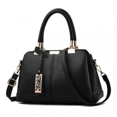 Leather handbag for Women Lady Tree metal decoration Shoulder handbags Shoulder Bag Women Bag black 1