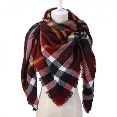Cashmere Winter Scarf For Women Scarf Wool Plaid Blanket Scarf Warm Pashmina Wrap Shawls and Scarves