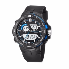 Men's double core luminous multi function Smart Watch Men Waterproof Sports Digital Quartz Watch blue