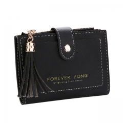 Fashion Short magical Wallet Simple Retro Letters Solid color Purse Coin Purse Change Purse black one size